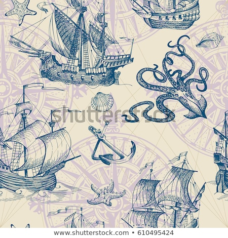 Sketch octopus, vector vintage seamless pattern  Stock photo © kali