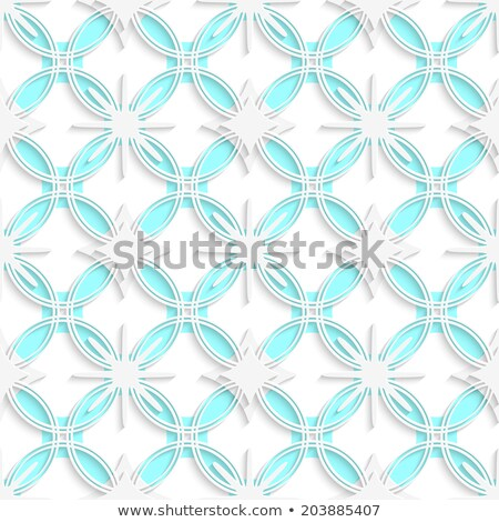 White detailed ornament layered on cyan circles seamless Stock photo © Zebra-Finch