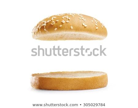 Stok fotoğraf: Burger · salata · beyaz · yemek