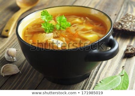 russo · repolho · sopa · verde · casa · carne - foto stock © fanfo