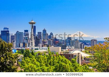 centre-ville · Seattle · cityscape · espace · aiguille · nuit - photo stock © AndreyKr