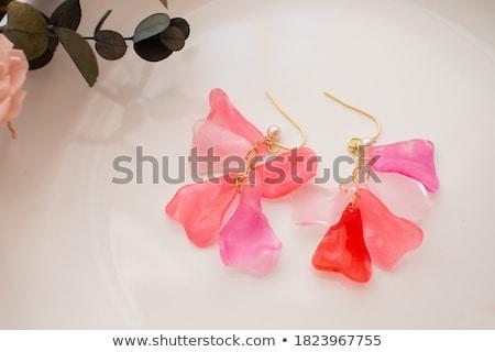 Kézzel készített fülbevalók természet levél rózsaszín ág Stock fotó © Sarkao