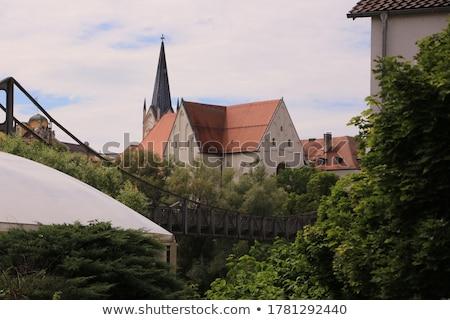 Kilátás folyó vendéglő város katedrális templom Stock fotó © manfredxy