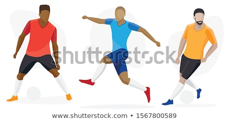 American football player s silhouettes in action. Vector illustr Stock photo © leonido