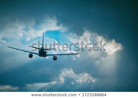ストックフォト: 飛行機 · 飛行 · 青 · 太陽 · 日光 · ベクトル