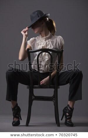 model · kadın · iç · çamaşırı · oturma · sandalye · karşı - stok fotoğraf © ankarb