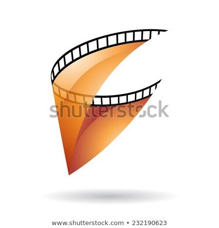 оранжевый прозрачный Film Reel икона изолированный белый Сток-фото © cidepix