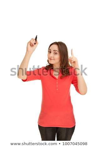 Young businesswoman holding a marking pen on white background studio stock photo © ambro