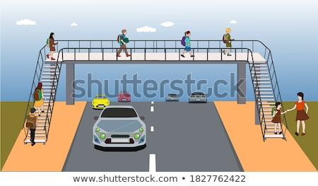 пешеходный мост ручей парка воды лес Сток-фото © hraska