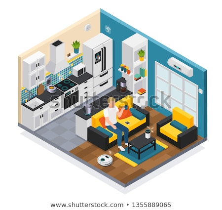 microwave oven with electronically controlled vector illustratio Stock photo © konturvid