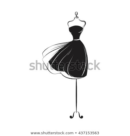 weinig · zwarte · jurk · mooie · slank · brunette · meisje - stockfoto © gsermek