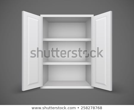 Stock photo: Empty box with open doors and bookshelves