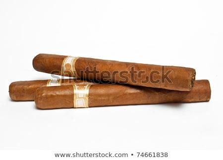 Három szivarok fehér füst árnyék szivar Stock fotó © ozaiachin