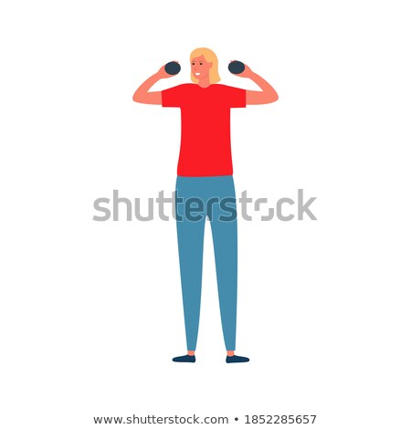 Young sports girl with dumbbells does exercises on a white Stock photo © vlad_star
