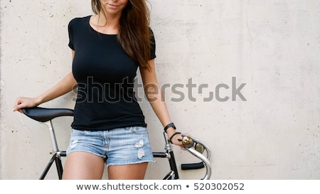 Woman with Long Brown Hair Wearing T-Shirt Stock photo © stryjek