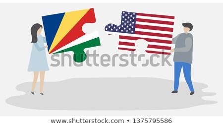 USA Seychelles bandiere puzzle vettore immagine Foto d'archivio © Istanbul2009