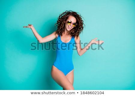 かなり ブルネット トレンディー 水着 ポーズ 海 ストックフォト © acidgrey