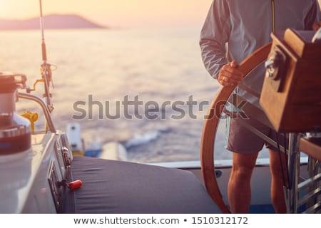 moço · óculos · de · sol · volante · iate · férias · férias - foto stock © anna_om
