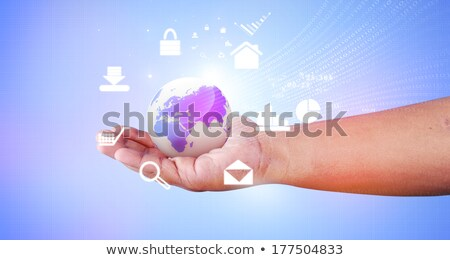 Stock fotó: Human Hand Holding The World Internet Icons Around The World Everything On Hand