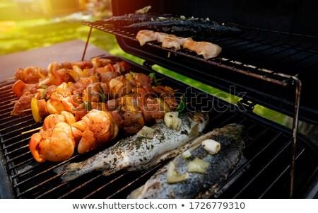 смешанный · мяса · морепродуктов · палочки · для · еды · барбекю - Сток-фото © art9858