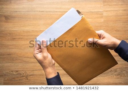 Open bruin envelop tabel business mail Stockfoto © FrameAngel