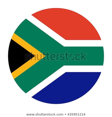 Symbol Flagge Südafrika glänzend Zeichen weiß Stock foto © MikhailMishchenko