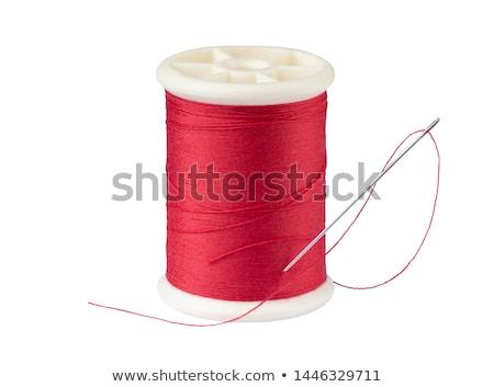 Czerwony wątku igły odizolowany biały tle Zdjęcia stock © tetkoren