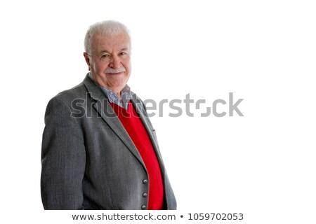Branco aposentados cavalheiro terno jaqueta ombros Foto stock © ozgur