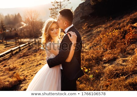 fiance kisses bride on to the meadow Stock photo © Paha_L