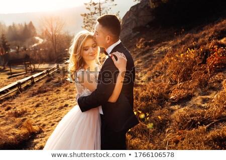 novia · beso · ramo · cielo · boda · cara - foto stock © paha_l