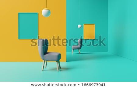 Mínimo cadeira mobiliário preto couro Foto stock © shutswis