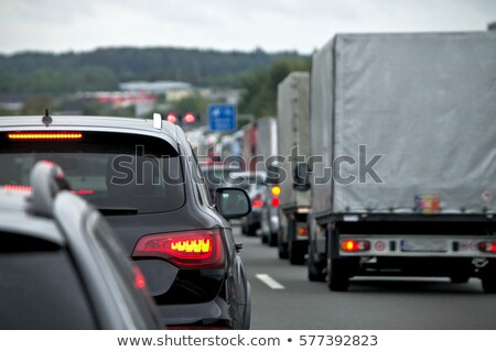 road sign traffic jam on highway in germany stock photo © vladacanon