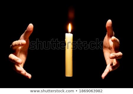 キャンドル 手 難 暗闇の中 火災 ストックフォト © italianestro