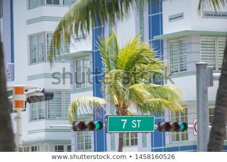 Stock fotó: óceán · vezetés · felirat · utca · jelzőlámpa · város