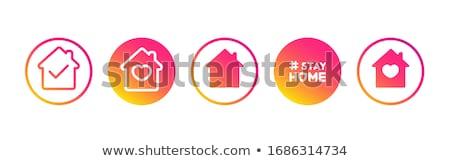 Otthon ikon ház internet felirat háló Stock fotó © kiddaikiddee