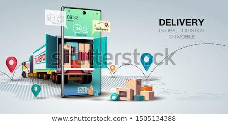 online · om · 3d · render · vrachtwagen · industrie · vervoer - stockfoto © wad
