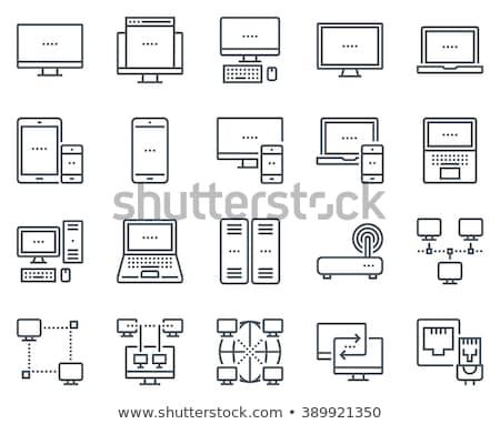 sem · fio · router · linha · ícone · teia · móvel - foto stock © rastudio