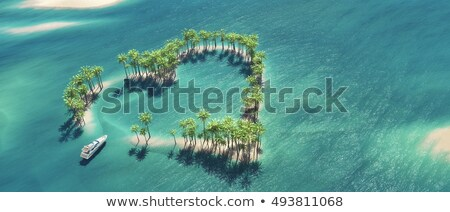 palm trees on an island in middle of the ocean   3d render stock photo © elenarts