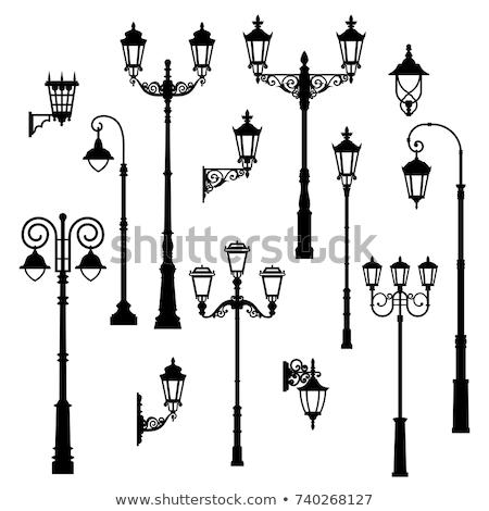 Set of silhouettes of lanterns or street lamps Stock photo © ElaK