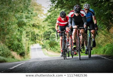 Cycliste vélo domaine herbe dessin casque Photo stock © bluering