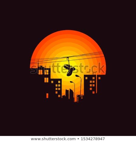 хип-хоп силуэта закат иллюстрация человека Dance Сток-фото © adrenalina