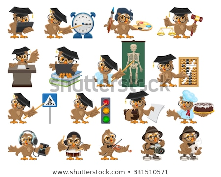 big set owl teacher cartoon bird teacher stock photo © orensila