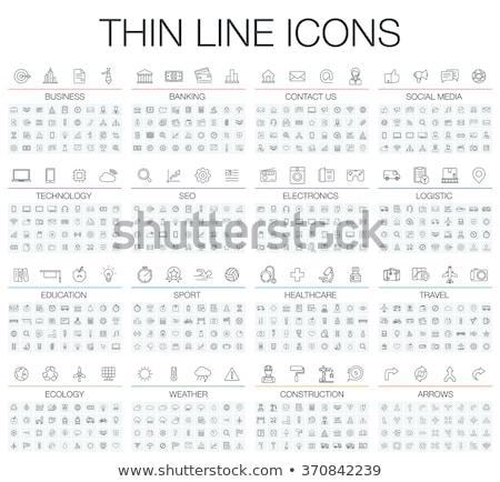 Internet vékony vonal ikonok hálózat ikon szett Stock fotó © Genestro