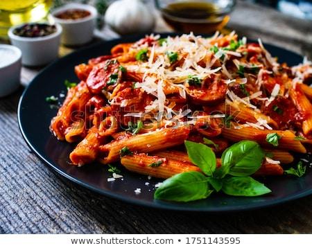 macarrones · queso · suelo · carne · de · vacuno · salsa · de · tomate · cheddar - foto stock © digifoodstock