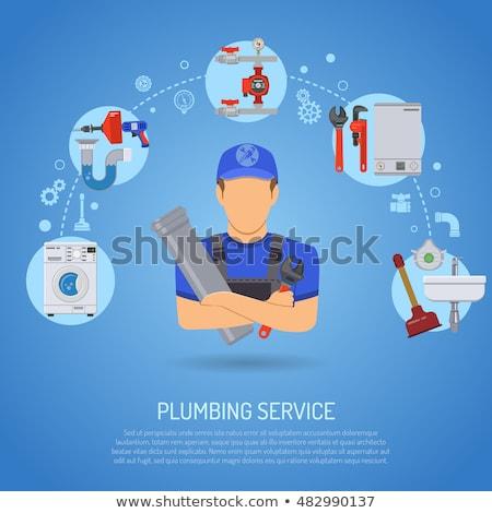 Csövek szolgáltatás installáció vízvezetékszerelő szerszámok ikonok Stock fotó © -TAlex-