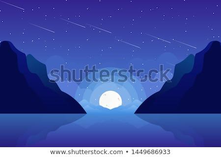 Scene with mountain on fullmoon night Stock photo © bluering