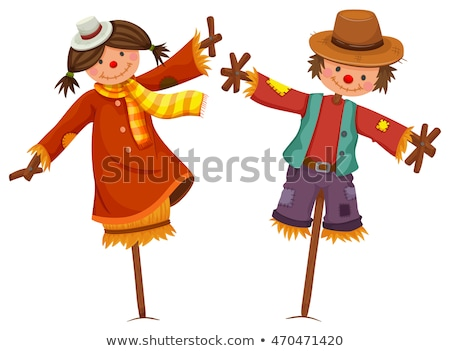 Two scarecrows look like human boy and girl Stock photo © bluering