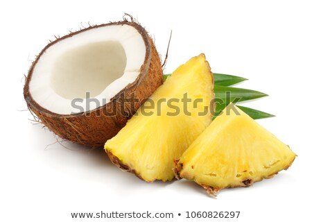 Coco and pineapple isolated on the white background.  Stock photo © kayros
