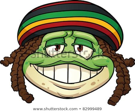 Rastafarian frog cartoon Stock photo © doomko