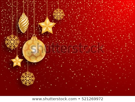 luxury red christmas voucher with golden christmas balls stock photo © liliwhite